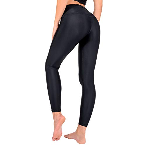 AVVA High Waist Yoga Leggings for Women - Compression Tummy Control Pants for Workout and Running (S, Black)