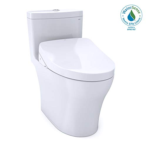 TOTO MW6463056CEMFG#01 WASHLET+ Aquia IV One-Piece Elongated Dual Flush 1.28 and 0.8 GPF Toilet with S550e Electric Bidet Seat, Cotton White
