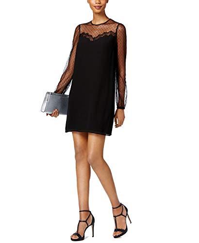 Michael Michael Women's Kors Sheer-Sleeve Dress (Black, X-Large)