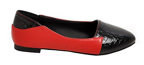 de rouges et talons à PU assortie shirt courtes Escarpins de Odomolor femmes hauts à couleur manches en T pour nYZUO6n