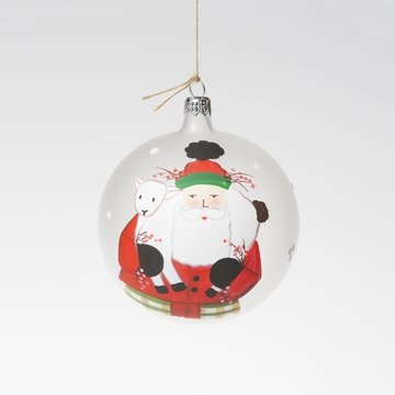 (Vietri Old St. Nick Limited Edition Christmas Ball Ornament, Santa & Lamb)
