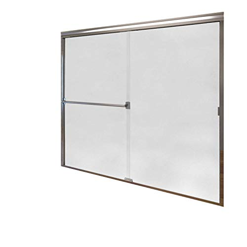 Tub Door Obscure Glass - Basco Classic Semi-Frameless Sliding Tub Door, Fits 52-56 inch opening, Obscure Glass, Silver Finish