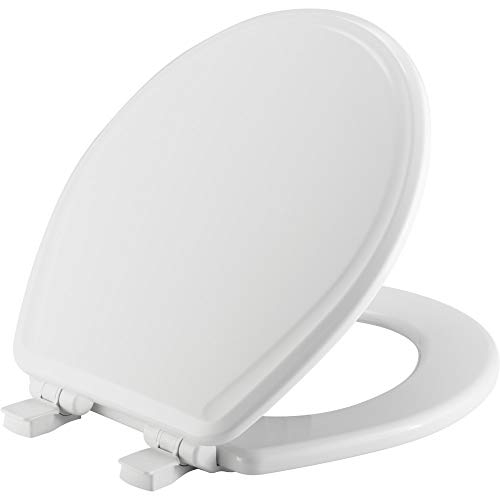 (CHURCH 640E3 000 Toilet Seat will Slow Close and Never Come Loose, ROUND, Durable Enameled Wood, White)