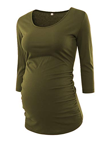 BBHoping Women's Side Ruched 3/4 Sleeve Maternity Scoop Neck Jersey Top Pregnancy Clothes Army Green