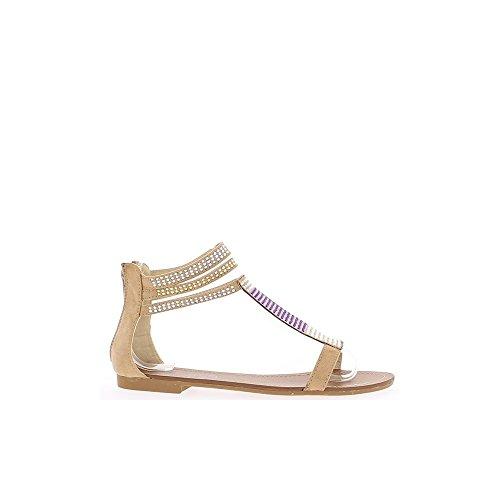 Sandales plates camel avec strass bicolores