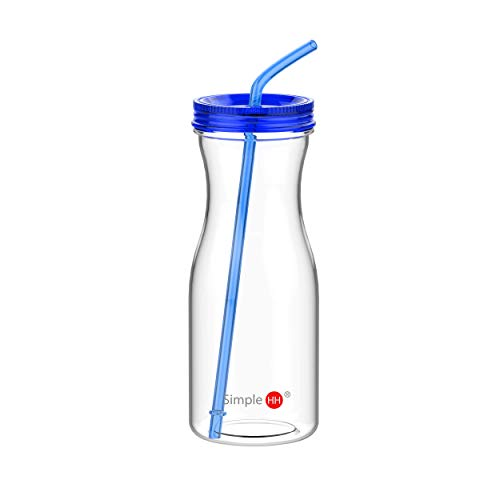 Simple HH Tritan BPA-Free Water Bottle with Straw 33oz Dishwasher-Safe Drinking Tumbler | Extra Wide Mouth w/Easy Twist Lid (Sapphire) (Sports Acrylic Bottle)