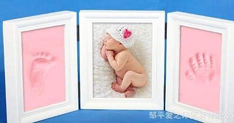 Marco de fotos para bebé recién nacido, diseño de huellas de huellas de pata, regalo de cumpleaños rosa rosa