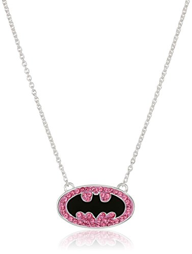 "Price comparison product image DC Comics ""Batman"" Girls' Comics Silver Plated Batgirl Pink Crystal Necklace"