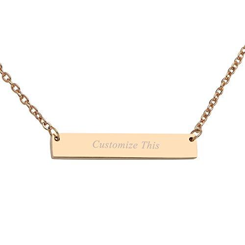 PiercingJ Personalized Custom Name Message Classic Clavicle Necklace Horizontal Bar Necklaces Initial Alphabet Pendant Adjustable 20