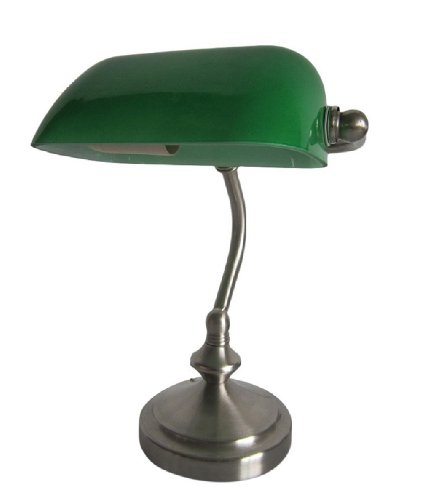 Simple Designs LT3057-GRN Brushed Nickel Traditional Banker's Lamp with Glass Shade, Green
