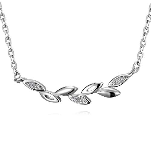 ACCTSY 925 Sterling Silver Olive Branch Pendant Necklace with White Zircon,Hollow,Polished Olive Leaf Pendant Necklace
