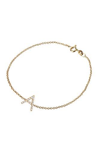 Diamond initial bracelet, 14k solid gold, personalized bracelet by Zoe Lev Jewelry