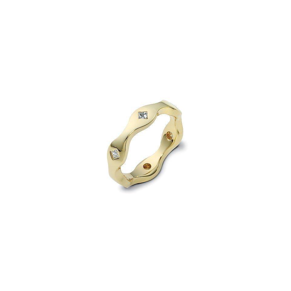 Designer 14 Karat Yellow Gold Unique Princess Cut Diamond Ring   6.25