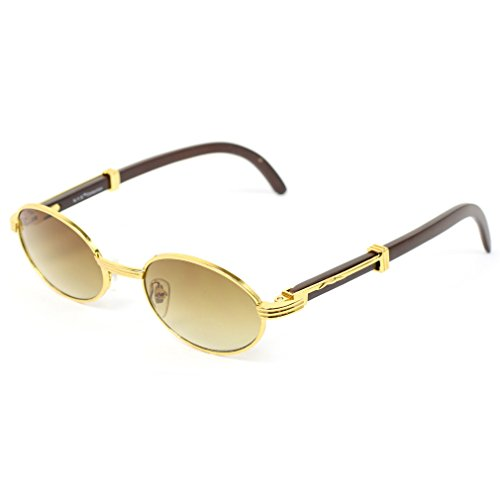 J Group NY Mens Wooden Frame Oval Sun Glasses WD02AP Gold