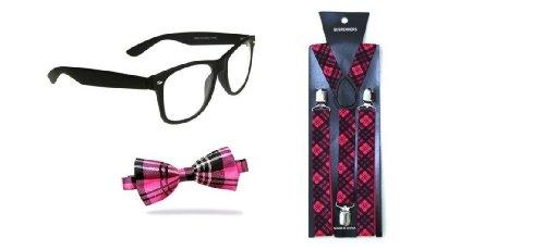 Indisguise Women's Nerd Geek Tartan Fancy Costume Glasse Tie And Brace Dweeb One Size Pink - Nerd Glasse