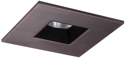 HALO Recessed TLS408TBZBB 4-Inch LED Trim Square with Solite Regressed Lens andBlack Baffle-Tuscan Bronze Ring