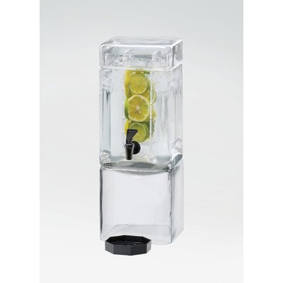 Cal-Mil 1112-1AINF Square Glass Beverage Dispenser with Infusion Dispenser, 1.5 gal, 7.125