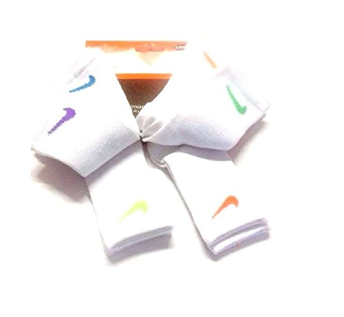NIKE TODDLER KIDS SOCKS SIZE 6-7/13C-3Y WHITE/ASSORTED SWOOS