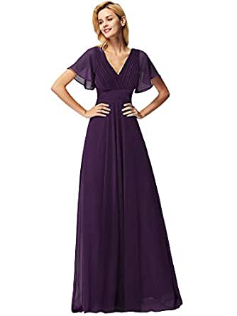 Ever-Pretty Women's A Line Empire Waist Long Chiffon V Neck Short Sleeve Evening Dresses Dark Purple10AU