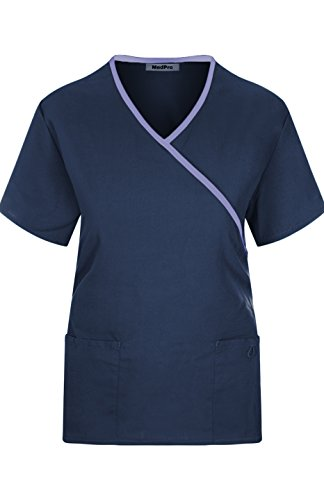 MedPro Women's Medical Scrub Set Mock Wrap and Cargo Navy M (GT-756) by MedPro (Image #2)
