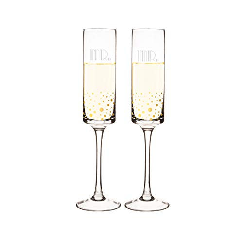 Cathy's Concepts GMR-GD3668 Mr. & Mr. Gatsby Dotted Contemporary Champagne Flutes, Clear/Gold
