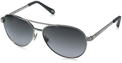 Fossil Women's FOS3051S Aviator Sunglasses, Silver/Gray Gradient, 60 - Aviators Fossil