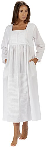 The 1 for U Nightgown 100% Cotton Womens Long Nightie with Pockets - Esther (White, Medium) (The 1 For U)
