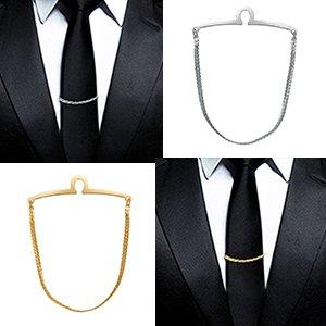 Yoursfs Tie Chain Polish Loop Men's Double Color Link Chain 2pcs Cravat Collar tie Clip by Yoursfs (Image #8)