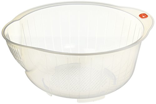 Inomata 80800 Japanese Rice Washing Bowl with Strainer, 2.5-Quart Capacity