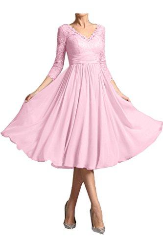 Sunvary Elegant Mother Of The Bride Dresses V Neck 3/4 Sleeve Lace Tea-Length Size 10- Pink