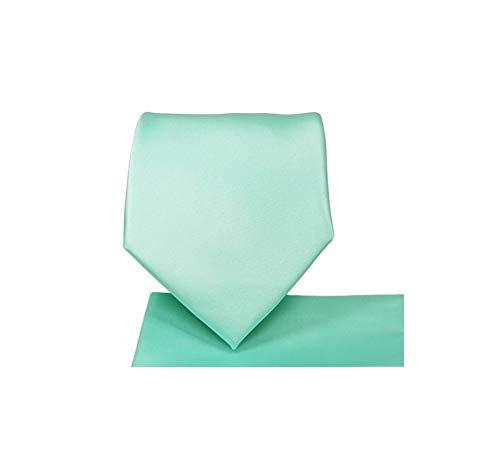 (Oliver George Solid Pattern NeckTie Set (Aqua))