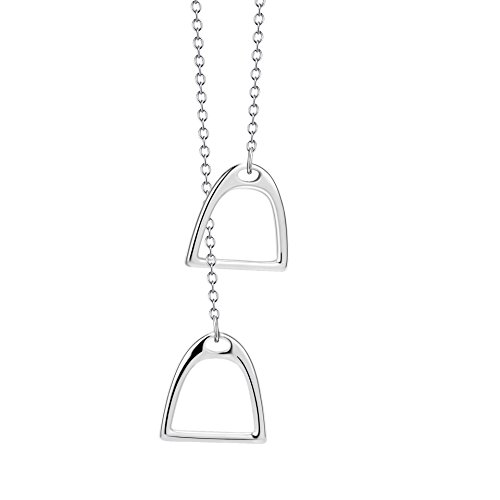 Althrorry S925 Sterling Silver Simple Double Horse Lariat Stirrup Jewelry Necklace for Women Girls, 18
