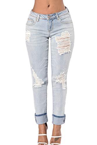 yulinge Las Mujeres Jeans Rasgado Destoryed Ankle Pantalón De Mezclilla con Bolsillo Azul 3color