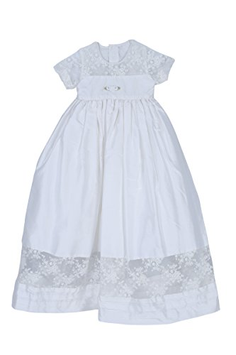 Caremour Stunning Dupioni Silk, Floral Lace Christening G...