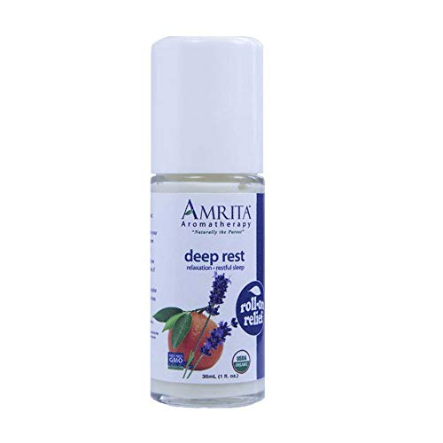Amrita Aromatherapy Organic Deep Rest Roll-On Relief, Natural Sleep Aid, Organic Lotion Base With Red Mandarin, Lavender Extra, Sweet Marjoram and Mandarin Petitgrain Essential Oils, 30 milliliters