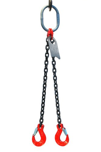 Chain Sling - 3/8'' x 5' Double Leg with Sling Hooks - Grade 80