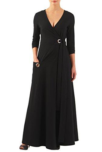 eShakti Women's Cotton knit grommet front wrap maxi dress 2X-20W Regular (Jersey V-neck Dress)