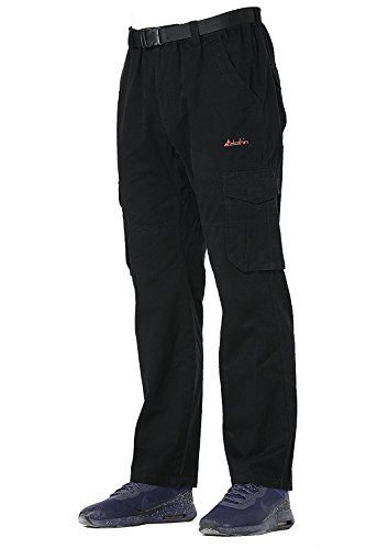 - Men's Belted Elastic-Waist Cargo Pants in Regular Straight Fit - 100% Cotton Black