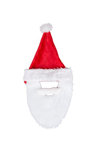 [Novelty Red and White Christmas Holiday Santa Hat With Beard by Clever Creations | One Size Fits Most Christmas Hat For Both Kids and Adults] (Child Grinch Costumes)