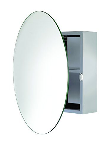 Croydex Severn Stainless Steel Circular Medicine Cabinet with Over Hanging Mirror Door, 19.7 x 19.7 x 3.9 In. by Croydex