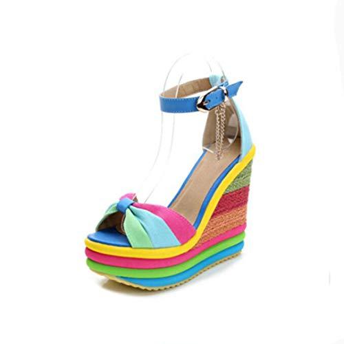 Woman's Summer Sexy Bohemia Casual Rainbow Peep Toe Wedges Platform Sandals Lady High Heel Shoes