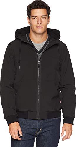 Levi's Men's Soft Shell Sherpa Lined Hooded Bomber Jacket, Black Binding, Medium