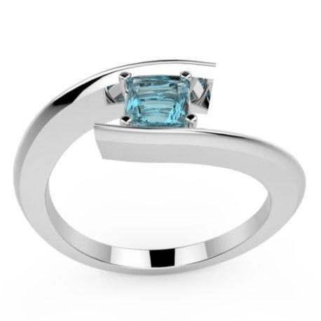 HABY PRINCESSE Bagues Or Blanc 18 carats Topaze Bleu 0,8 Princesse