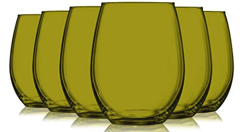 Amber Full Accent Stemless 21 oz Wine Glasses – Set of 6 by TableTop King – Additional Vibrant Colors Available
