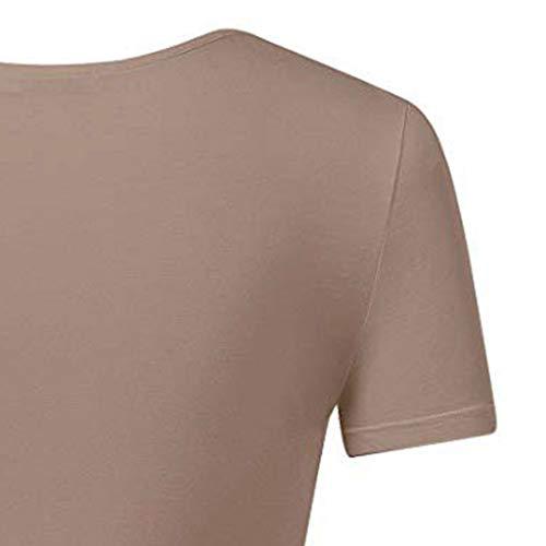 Crop Tops for Women BXzhiri Deep V Neck Short Sleeve Unique Slim Fit Coss Wrap Shirts Khaki by Bxzhiri_Women Tops (Image #3)