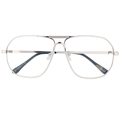 Oversized Sunglasses Pilot Top Aviator Retro Driving Designer Glasses Eyewear (Silver, - Glasses Silver Aviator