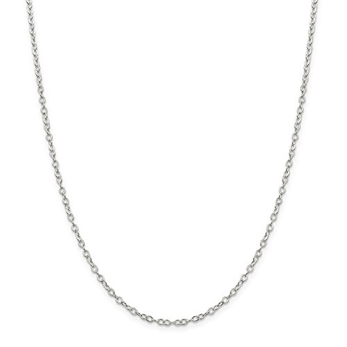 Open Oval Link Necklace - 925 Sterling Silver 2.5mm Flat Open Oval Cable Link Chain Necklace 20