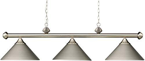 (Elk 168-Sn Casual Traditions 3-Light Billiard Light, 15-Inch, Satin Nickel With Metal)