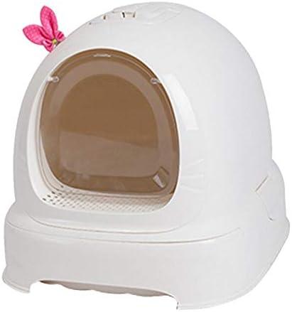 ペットトイレパッド 二重層フリップペット同腹箱の底引出しのフード付きの猫のトイレ砂 (色 : 白, サイズ : 52*42*40cm)