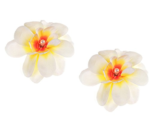 Love Sweety Hawaiian Plumeria Pearl Hair Clips Flower Barrettes For Beach Party (2pc Ivory)